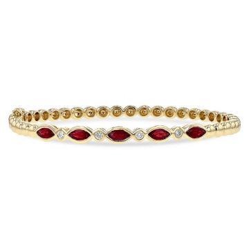 Allison Kaufman 14k Yellow Gold Gemstone & Diamond Bracelet