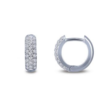 Lafonn Classic Silver Tone Diamond Huggie Earrings
