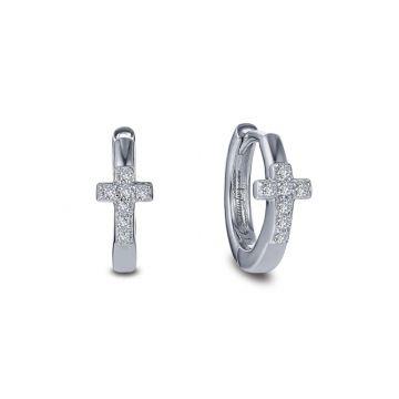 Lafonn Pave Cross Huggie Earrings