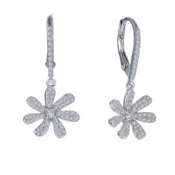 Lafonn Leverback Flower Earrings