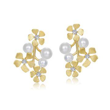 Lafonn Flower Pearl Earrings