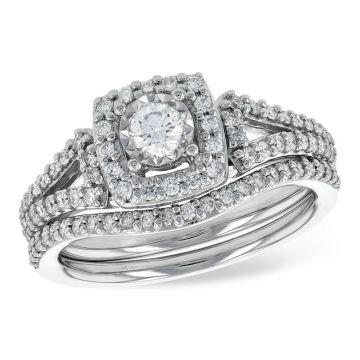 Allison Kaufman 14k White Gold Diamond Halo Bridal Set
