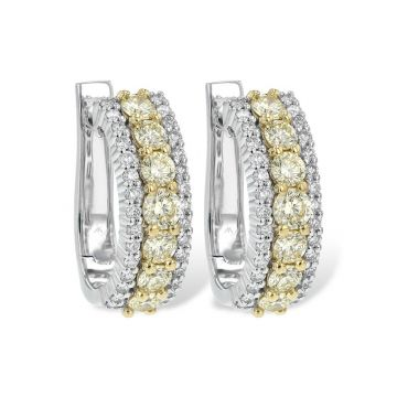 Allison Kaufman Two Tone 14k Gold Diamond Hoop Earrings
