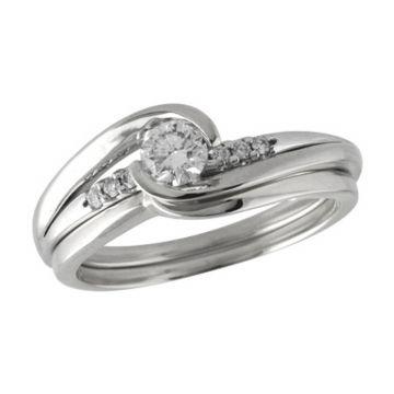 Allison Kaufman 14k White Gold Diamond Bypass Bridal Set