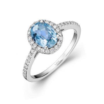 Lafonn Genuine Blue Topaz Halo Ring