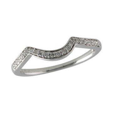 Allison Kaufman 14k White Gold Diamond Curved Wedding Band