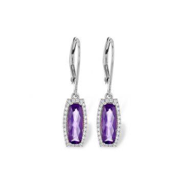 Allison Kaufman 14k White Gold Gemstone & Diamond Drop Earrings