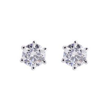 Allison Kaufman 14k White Gold Diamond Stud Earrings