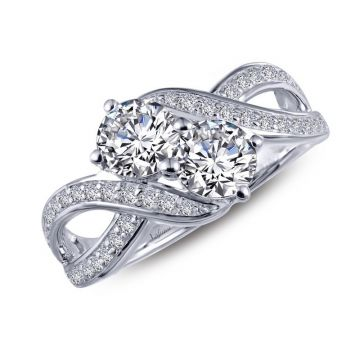 Lafonn Two-Stone Sterling Silver Simulated Diamond Ring