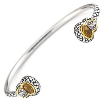 Andrea Candela 18k Yellow Gold and Sterling Silver Andalucia Diamond and Gemstone Bangle Bracelet