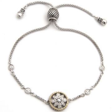 Andrea Candela 18k Yellow Gold and Sterling Silver Andrea II Diamond and Gemstone Bracelet
