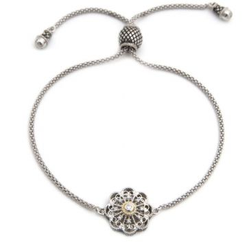 Andrea Candela 18k Yellow Gold and Sterling Silver Mantilla Diamond and Gemstone Bracelet