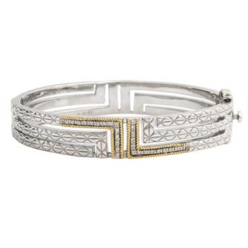 Andrea Candela 18k Yellow Gold and Sterling Silver Laberinto Diamond and Gemstone Bangle Bracelet