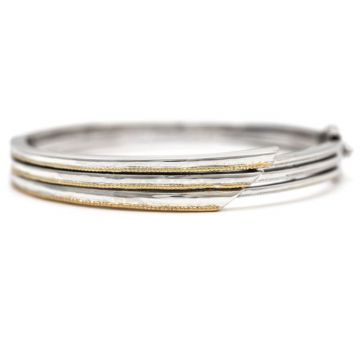 Andrea Candela 18k Yellow Gold and Sterling Silver Pegasus Gemstone Bangle Bracelet