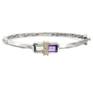 Andrea Candela Sterling Silver Ilusion Diamond and Gemstone Bangle Bracelet