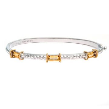 Andrea Candela 18k Yellow Gold and Sterling Silver La Romana Gemstone Bangle Bracelet