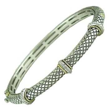 Andrea Candela 18k Yellow Gold and Sterling Silver Linea Diamond and Gemstone Bangle Bracelet