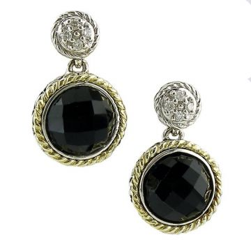 Andrea Candela 18k Yellow Gold and Sterling Silver Trebol Diamond and Gemstone Earrings