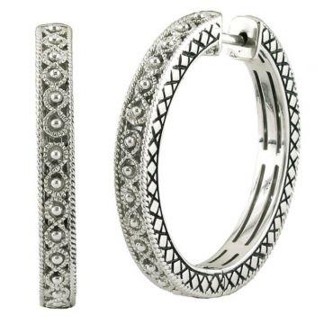 Andrea Candela Sterling Silver Pasion De Plata Gemstone Hoop Earrings