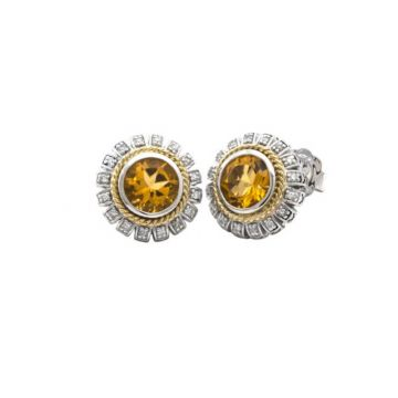 Andrea Candela 18k Yellow Gold and Sterling Silver Lazo De Colores Diamond and Gemstone Earrings