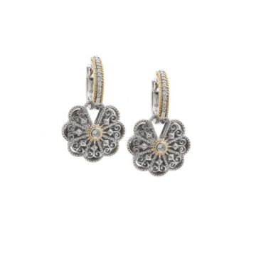 Andrea Candela 18k Yellow Gold and Sterling Silver Mantilla Diamond and Gemstone Earrings