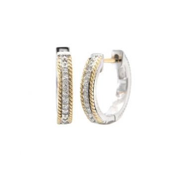 Andrea Candela 18k Yellow Gold and Sterling Silver Mantilla Diamond and Gemstone Hoop Earrings