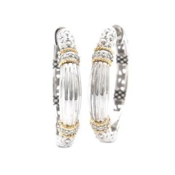 Andrea Candela 18k Yellow Gold and Sterling Silver La Corona Diamond and Gemstone Hoop Earrings