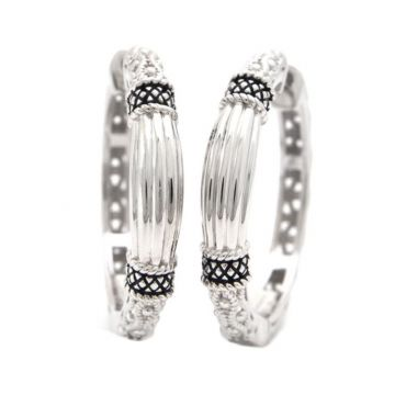 Andrea Candela Sterling Silver La Corona Gemstone Hoop Earrings