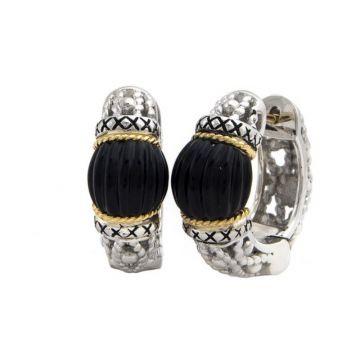 Andrea Candela 18k Yellow Gold and Sterling Silver La Corona Gemstone Hoop Earrings