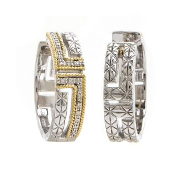 Andrea Candela 18k Yellow Gold and Sterling Silver Laberinto Diamond and Gemstone Hoop Earrings