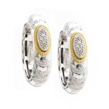 Andrea Candela 18k Yellow Gold and Sterling Silver Eco Diamond and Gemstone Hoop Earrings