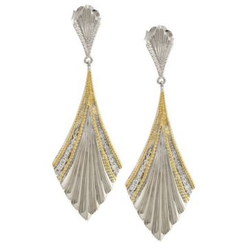 Andrea Candela 18k Yellow Gold and Sterling Silver Flamenco Diamond and Gemstone Earrings