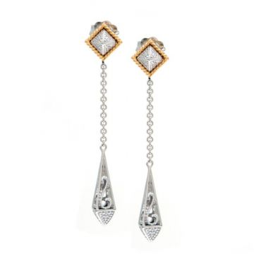 Andrea Candela 18k Yellow Gold and Sterling Silver La Romana Diamond and Gemstone Drop Earrings
