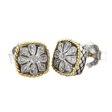 Andrea Candela 18k Yellow Gold and Sterling Silver Andrea II Diamond and Gemstone Stud Earrings
