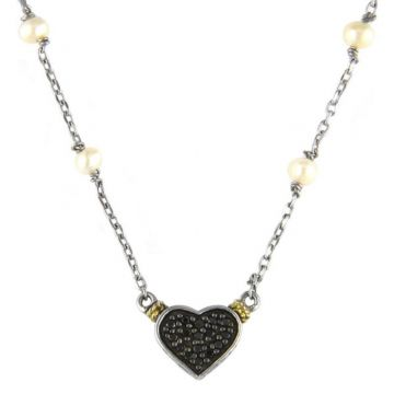 Andrea Candela 18k Yellow Gold and Sterling Silver Blanco y Negro Diamond and Gemstone Necklace