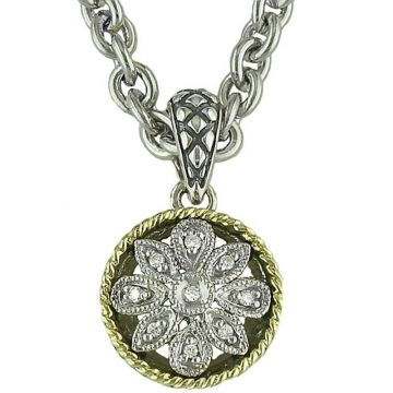 Andrea Candela 18k Yellow Gold and Sterling Silver Andrea II Diamond andGemstone Pendant