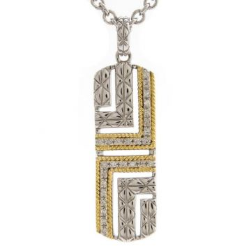 Andrea Candela 18k Yellow Gold and Sterling Silver Laberinto Diamond andGemstone Necklace