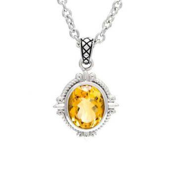 Andrea Candela Sterling Silver Fleur de Lis Gemstone Pendant