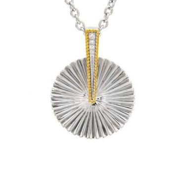 Andrea Candela 18k Yellow Gold and Sterling Silver Flamenco Diamond andGemstone Pendant