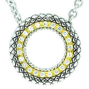 Andrea Candela 18k Yellow Gold and Sterling Silver Diamante Diamond andGemstone Pendant