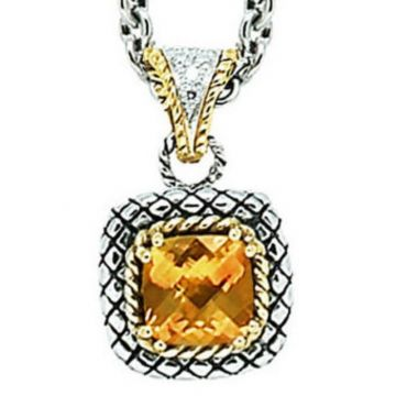 Andrea Candela 18k Yellow Gold and Sterling Silver Mini Alhambra Diamond and Gemstone Pendant