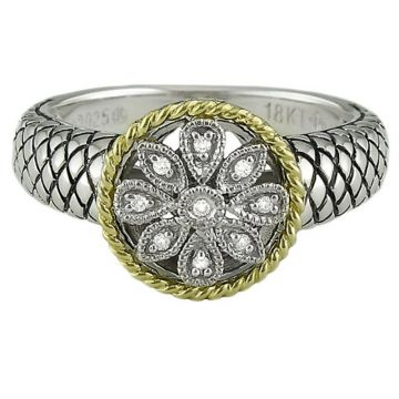 Andrea Candela 18k Yellow Gold and Sterling Silver Andrea II Diamond Ring