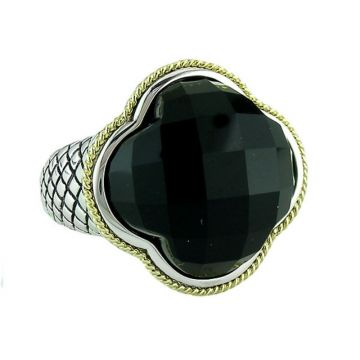 Andrea Candela 18k Yellow Gold and Sterling Silver Trebol Gemstone Ring