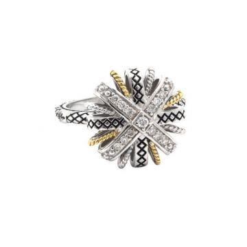 Andrea Candela 18k Yellow Gold and Sterling Silver Lazo De Brillantes Diamond Ring