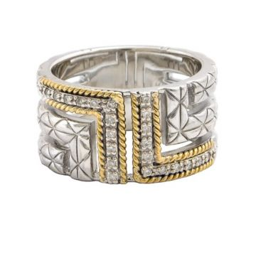 Andrea Candela 18k Yellow Gold and Sterling Silver Laberinto Diamond Ring