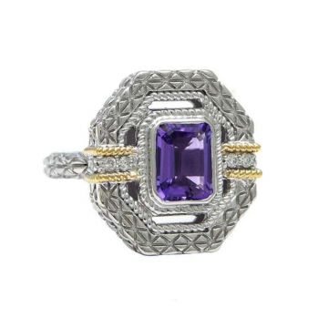 Andrea Candela 18k Yellow Gold and Sterling Silver Gatsby Diamond and Gemstone Ring