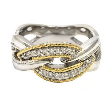 Andrea Candela 18k Yellow Gold and Sterling Silver Conexion 2 Diamond Ring