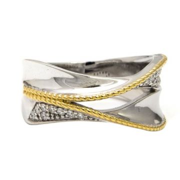 Andrea Candela 18k Yellow Gold and Sterling Silver Las Olas Diamond Ring