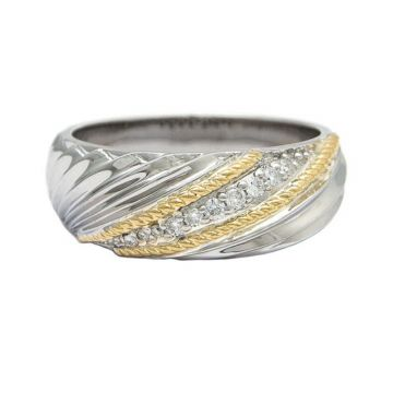 Andrea Candela 18k Yellow Gold and Sterling Silver Flamenco Diamond Ring
