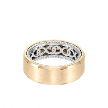 ArtCarved 8MM Men's Contemporary Wedding Band - Bright Brush Finish and Bevel Edge with Inside Infinity Pattern and Rope Edge in 14k Yellow and White Gold